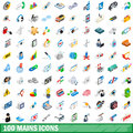 Picture : 100 mains icons set, isometric 3d style 7  money