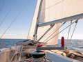 Mainsheet on the sailing boat Stock Image