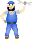 Maintenance man with wrench vector cartoon illustration of a Stock Photography