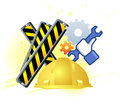 Maintenance mode icon with hand wrench. Like work emblem Royalty Free Stock Photo