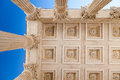 Maison carree nimes france detail of the ceiling on the roman temple with corinthian columns in provence south of Royalty Free Stock Photo
