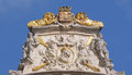 Maison du cornet on grand place roof details of baroque in brussels belgium Royalty Free Stock Photo