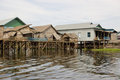 Maisons de flottement, lac sap de Tonle, Cambodge Images stock