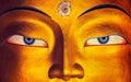 Maitreya Buddha face close up, Thiksey Gompa, Ladakh Royalty Free Stock Photo