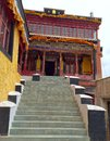 Maitreya buddha temple thiksay monastery leh ladakh kashmir india steps on the right side in the main courtyard at leads to the Stock Image