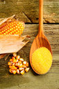 Maize  flour over spoon Royalty Free Stock Photography