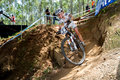 Maja wloszczowska world champion in action during practice pietermaritzburg south africa march negotiating a corner round of xco Royalty Free Stock Photos
