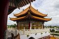 Majestic ancient chinese pavillion in asian temple Stock Images