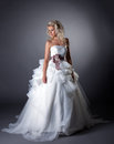 Majestic bride posing in lush wedding dress on grey background Royalty Free Stock Photos