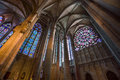 Majestic Carcassone cathedral interiors. Sun light. Stock Photos