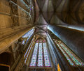Majestic Carcassone cathedral interiors. Sun light. Stock Images