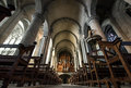 Majestic Carcassone cathedral interiors. Sun light. Stock Image