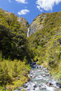 Majestic Devil's Punchbowl Waterfall, Arthur's Pass, Canterbury, Royalty Free Stock Photo