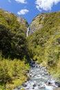 Majestic Devil's Punchbowl Waterfall, Arthur's Pass, Canterbury, Royalty Free Stock Photo