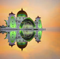 Majestic floating mosque at malacca straits during sunset a panoramic view of public awesome Royalty Free Stock Images