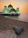 Majestic floating mosque at malacca straits during sunset a panoramic view of public awesome Royalty Free Stock Image