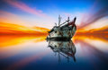 Majestic morning with ghost ship at beautiful sunset Stock Photography