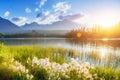 Majestic mountain lake in National Park High Tatra. Strbske ples