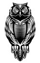 Majestic owl bird for mascot or tattoo design Stock Image