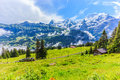 Majestic panoramic view of Eiger, Monch, Jungfrau mountains from Murren-Gimmelwald trail, Swiss alps, Bernese Oberland, Berne Royalty Free Stock Photo