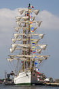 Majestic square rigger in port windjammer with furled sails cartagena colombia Stock Image