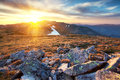 Majestic sunset in the mountains landscape Royalty Free Stock Photo