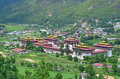 Majestic thimphu dzong an aerial view of in bhutan Royalty Free Stock Photography