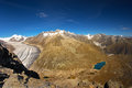 Majestic view to aletsch glacier the largest gracier in alps an and unesco herritage and fiescher from bettmeralp valais Royalty Free Stock Photography