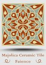 Majolica ceramic tile in beige, olive green and red terracotta. Vintage ceramic faience. Traditional spanish glaze