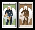 Major Arcana Tarot Cards. Temperance. Angel with appearance and clothes of young man, great wings, hair fair