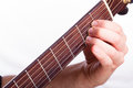 A major chord performed on acoustic guitar Stock Images