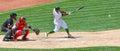 Major league baseball chris young hits der ball Stockfotografie