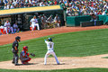 Major league baseball jed lowrie hitting Royalty-vrije Stock Foto's