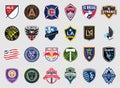 Major League Soccer teams logos Royalty Free Stock Photo