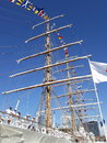 Major mast, flags and crew
