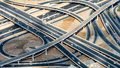 Major roads intersection, aerial view Royalty Free Stock Photo