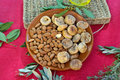 Majorca dry fruits plate of typical of Royalty Free Stock Photography