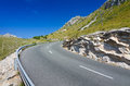Majorca road curve volcanic hills with curvy tropical on Stock Photography