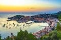 Majorca Spain Sunset at Port de Soller Royalty Free Stock Photo