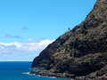 Makapu u lighthouse on cliffside mountain top with stretching bl historic blue pacific ocean below Royalty Free Stock Photography