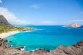 Makapu u lokout oahu beautiful panoramic view of beach hawaii Stock Photography