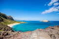 Makapu u lokout oahu beautiful panoramic view of beach hawaii Royalty Free Stock Photography