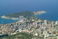 Makarska cityscape from mt biokovo Royalty Free Stock Photos
