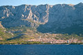 Makarska riviera town under mountains Stock Images
