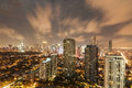 Makati skyline at night with glow of lights Royalty Free Stock Photo