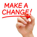 Make a change hand writing with red marker on transparent wipe board Stock Image