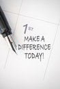 Make a difference today handwritten calendar entry Royalty Free Stock Image