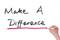 Make a difference words written on paper Stock Image
