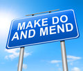 Make do and mend illustration depicting a road sign with a concept Royalty Free Stock Image