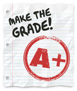 Make the grade a plus report card prove yourself words on lined paper to tell you to your skills knowledge and abilities Stock Photos